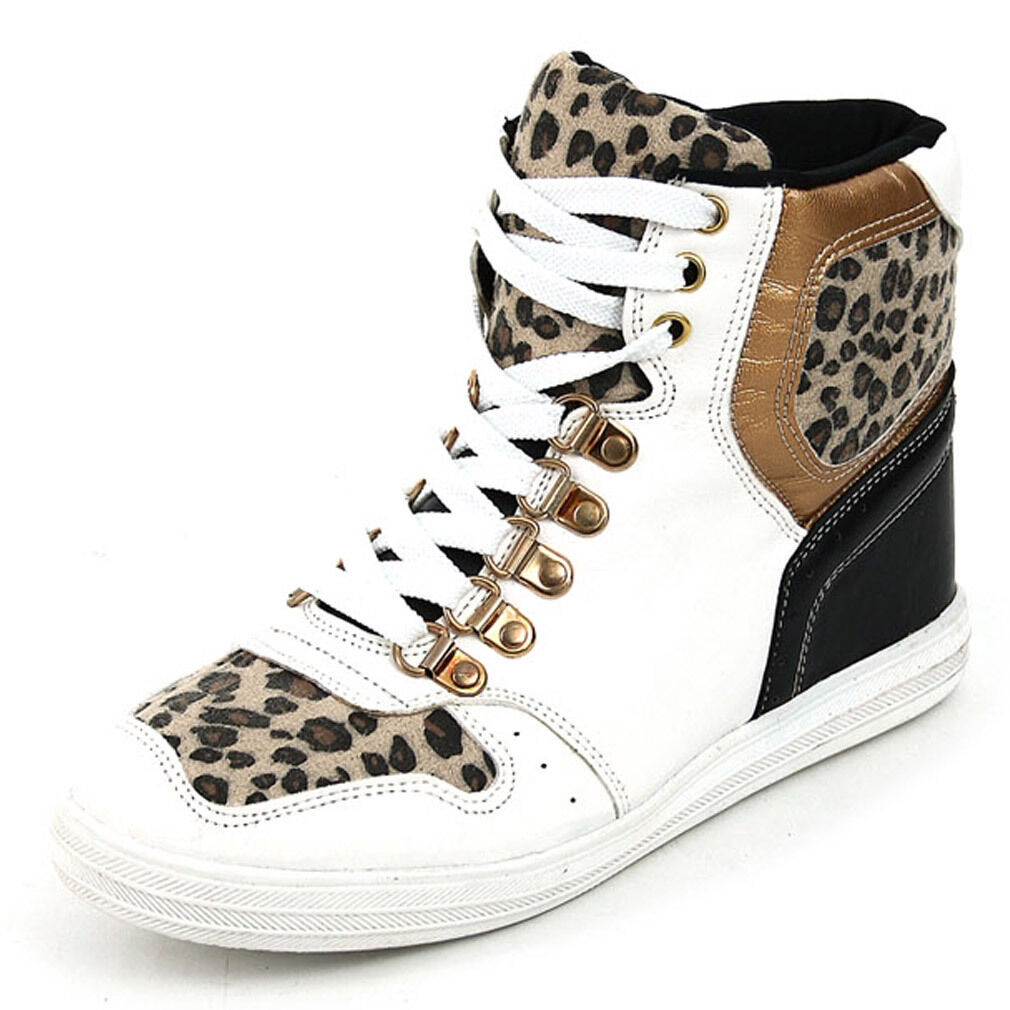 Epicsnob Womens shoes High Top Wedges Heels Lace Up Leopard Fashion Sneakers