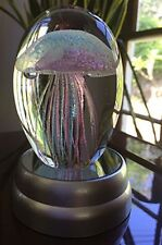 Hand Blown Glass Jellyfish Paperweight  Glow In The Dark Glass With Light Base