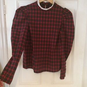 9eac7c3ebb208 Red Tartan Cotton Vintage Frill Collar Puff Sleeve Blouse Shirt New ...