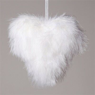 Vintage White Feather Heart Hanging Christmas Tree Wedding Decoration Ornaments