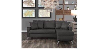 Divano Roma Furniture Bonded Leather Sectional Sofa Small E