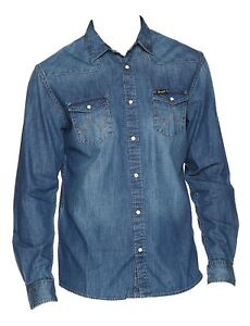 Mens-Wrangler-Western-Denim-Style-Shirt-W5973O78E-Mid-Stone-Wash