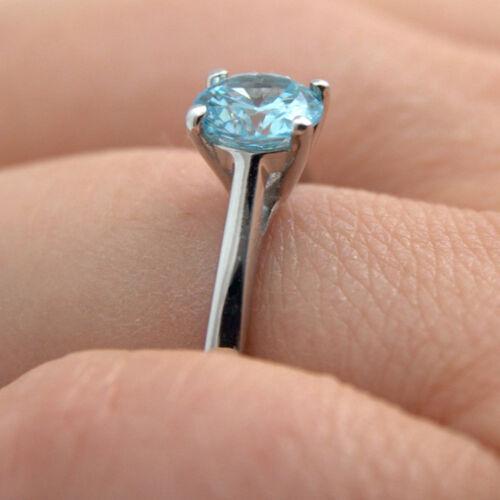 Engagement Ring Diamond Unique Solitaire Aquamarine 9ct Gold Ring 1ct