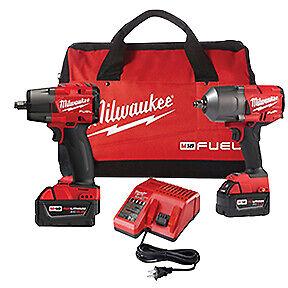 "Milwaukee 2988-22 M18 High Torque 1/2"" AND 3/8"" Impact Kits Brand New w/Warranty"