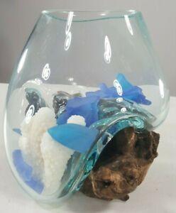 Molten-Glass-over-Teak-Wood-Bowl-is-Hand-Blown-8-034-x-6-034