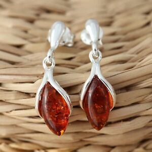 Cognac-Baltic-Amber-925-Sterling-Silver-Dangle-Drop-Earrings-Jewellery
