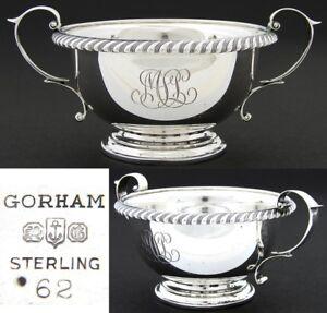 Vintage-Gorham-Sterling-Silver-Sugar-Bowl-Caviar-Serving-Dish-MSL-Monogram