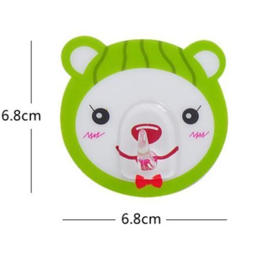 Cartoon Animal Wall Hook with Strong Adhesive Strips Hanger 6 pcs