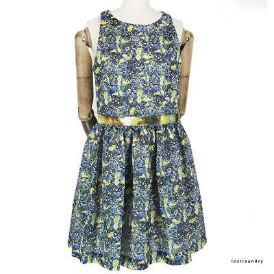 4c8bab84af MSGM Blue Yellow Green Floral Print Flared Skirt Skater Dress IT44 UK12