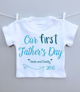 b26ab146 Personalised baby T-shirt top our 1st fathers day daddy present gift ...