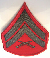 Military Red Tow W. E-4 Usmc Corporal Gunnery Chevron Stripes Uniform Felt Patch