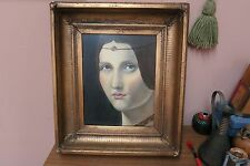 Antique oil on panel framed painting Portrait of an Unknown Woman