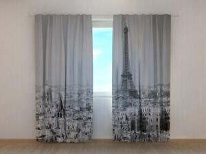 Details zu Fotogardine Paris schwarz weiss, Vorhang mit Foto, Gardine mit  Foto, auf Maß