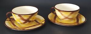 Vernonware-Organdie-Coffee-Cup-and-Saucer-Set-of-Two-2-Brown-Yellow-Plaid-USA