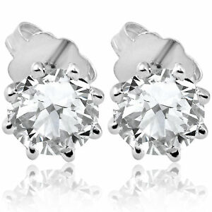 F-SI-1-25-ct-Solitaire-Diamond-Stud-8-Prong-Earrings-14K-White-Gold-Enhanced