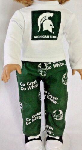 "Michigan State t-shirt pants MSU pj/'s fit 18/"" American Girl Doll or boy Logan"