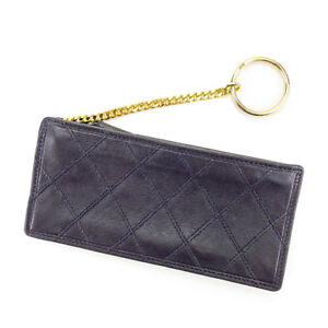 1291328a25bf Chanel Wallet Purse Coin Purse Black Gold Woman unisex Authentic ...