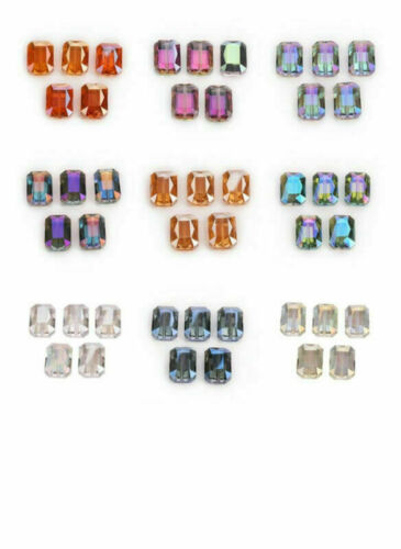 20Pcs 14mm Rectangle Glass Crystal Faceted Charms Loose Spacer Beads DIY Jewelry