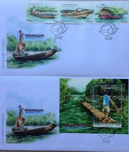 Malaysia FDC with Stamps & Miniature (26.05.2016) - River Transport in Sarawak