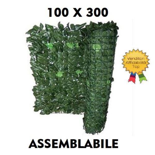 SIEPE ARTIFICIALE FINTA EDERA SINTETICA ARELLA CON FOGLIE 100 X 300 ASSEMBLABILE