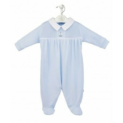 Baby Boy Blue Velour All In One Traditional Spanish Babygrow Outfit Mintini SALE