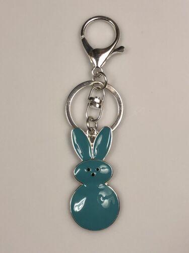 Easter Marshmallow Teal Blue Peep Key Ring//Purse Jewelry// Key Chain//Zipper Pull