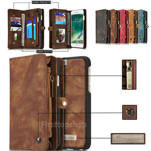 Genuine-Removable-Magnetic-Leather-Zipper-Wallet-Cards-Case-Cover-For-Phones-NEW