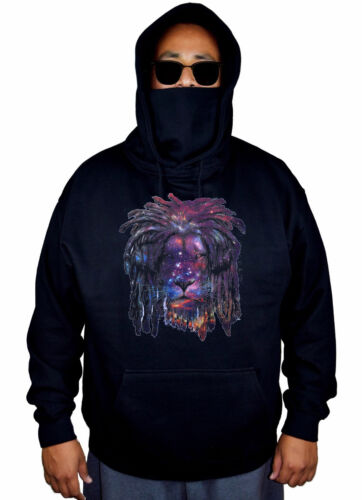 Men/'s Galaxy Lion Headphones Mask Hoodie DJ Rasta High Rave Music Sweater Jacket