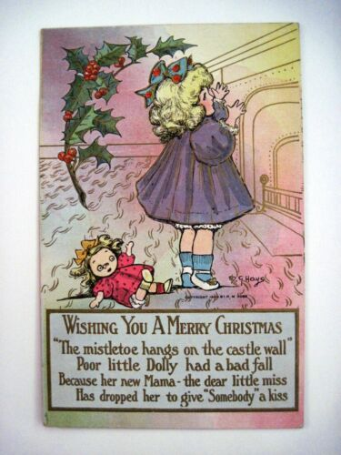 "1908 ""M.G.Hays"" Christmas Post Card w Little Girl & Her Dolly Used"
