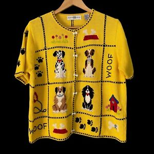 Vtg Marisa Christina Dog Puppies Knit Short Sleeve Cardigan Sweater Womens XL