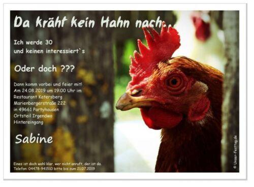 Geburtstagseinladung Karten witzig Hahn holen 20 30 70 Hähnchenzüchter originell