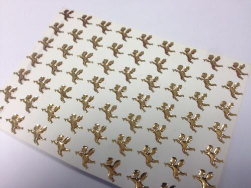 63 x Self Adhesive Gold Angels Gems Stickers Christmas Card Craft 10mm x 10mm