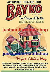 Bayko-Building-Set-1950-039-s-Large-A3-Size-Poster-Advert-Leaflet-Shop-Display-Sign
