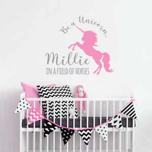 Image Is Loading Personalised Unicorn Wall Decals  Sticker Bedroom Nursery Kid