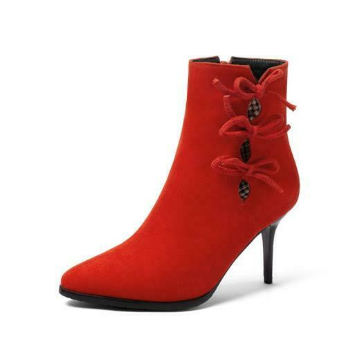 Details about  /Sexy Women/'s Bowknot Suede Fabric Pointy Toe Stilettos High Heel Ankle Boots D