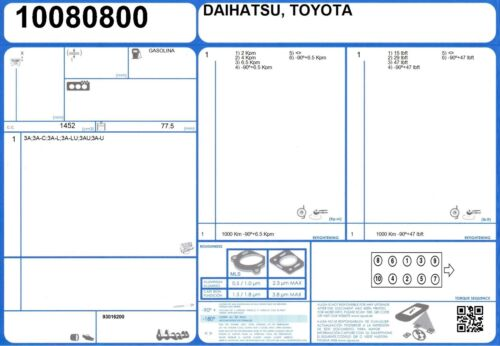 8//1983-11//1987 MOTORE Completo Ricostruzione Guarnizione Set Toyota Carina II 1.5 83 3A-LU