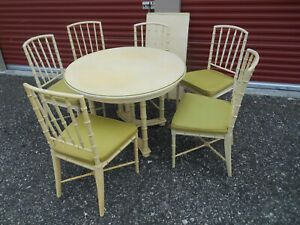 Vtg Drexel Kensington Faux Bamboo Dining Set Table 6 Chairs Mid