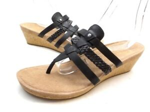a5d9cbe511f Details about UGG Maddie Cork Wedge Black Leather Flip Flop Sandals Womens  11