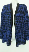 Faux Leather Houndstooth Open Front Cardigan Top Small S 6-8 Blue/black