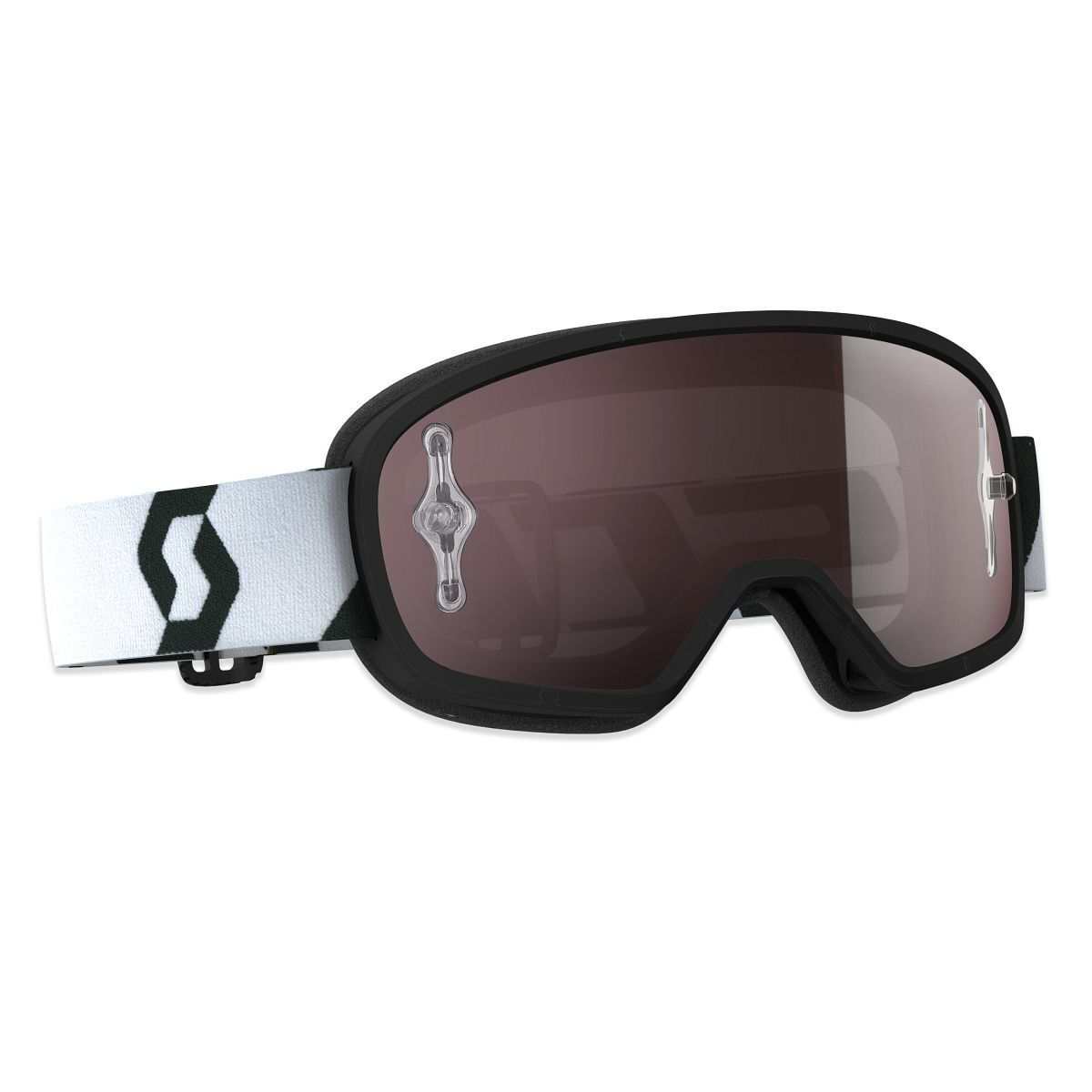 Scott Buzz Pro Kinder MX Goggle Cross MTB Brille black silverfarben chrome wor