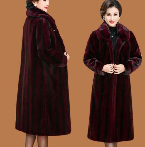 Womens Long Faux Mink Fur Coat Thicken Winter Warm Parka Lapel Luxury Overcoat