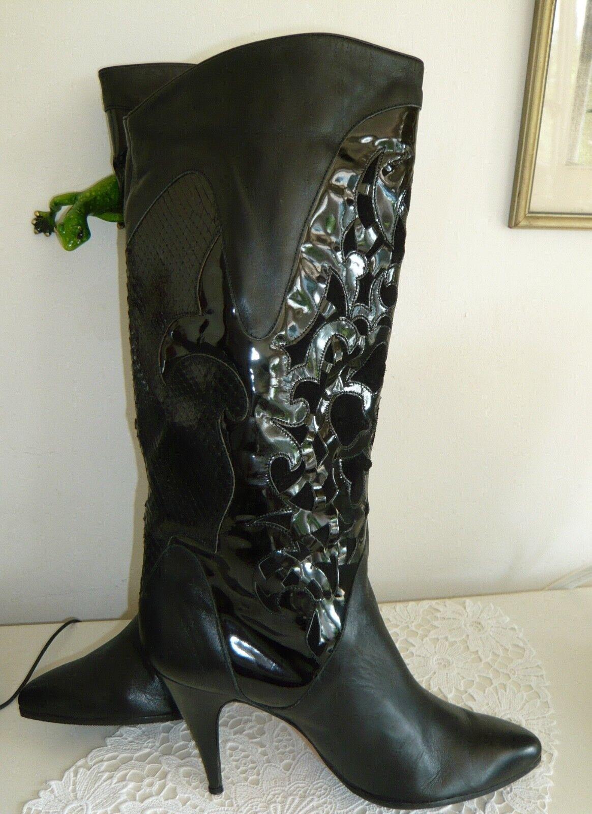 ITALIANA liscio-VERNICE-Serpenti ORIG. VINT. Stivali liscio-VERNICE-Serpenti ITALIANA Pelle Nero Mis. 39,5-40 d4b14e