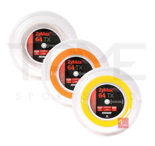 Ashaway ZyMax 64 TX Badminton 200m Reel (Available in Orange,White,Yellow)