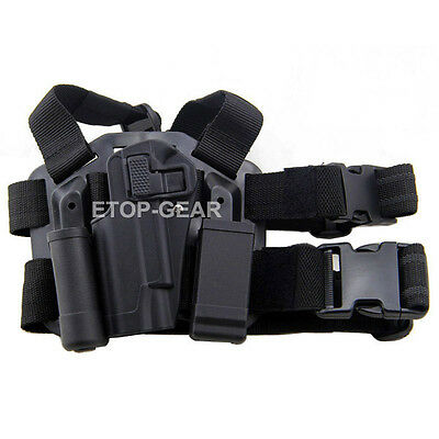 Tactical Drop Left Leg Thigh Rig Holster with Magazine Torch Pouch for Colt 1911