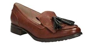 5 Tan Nuevos Leather mujer para D Clarks Busby Uk Folly Fit zapatos 5 Dark Tamaño x0ZvxfTq