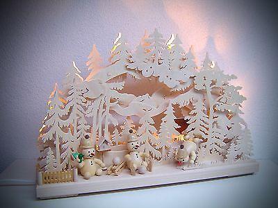 Schwibbogen 3D mit 3 Figuren Schneemann paradies 43 x 30 cm Erzgebirge NEU 10615