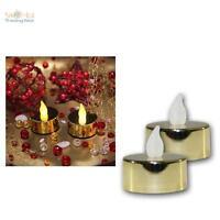 2er Set LED Teelichter gold-metallic flackernd Teelicht elektrisch Kerze Kerzen