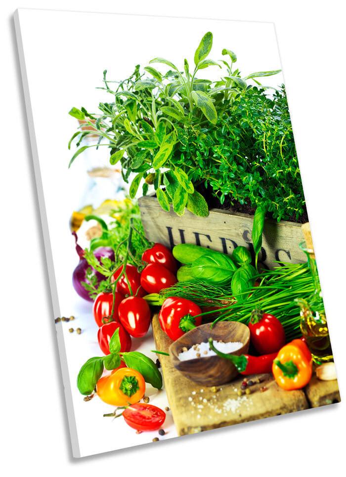 Fresh Herbs Vegetables Kitchen Picture CANVAS WALL ART Portrait Print
