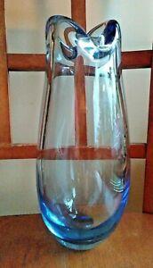 Vintage-Signed-Holmegaard-Blue-Glass-Vase-by-Per-Lutken-MCM-9-1-2-034-Dated-1954