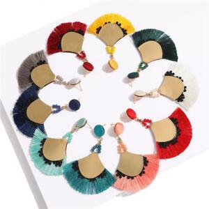 Women-Fashion-Pendant-BOHO-Sector-Tassel-Drop-Earrings-Eardrop-Jewelry-Dangle